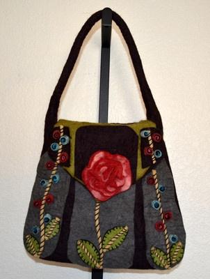 Rising Tide Womens Handbag-Handmade Boiled Wool by Nepal Artisans   $54.99:  Postbag