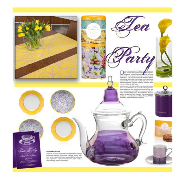 Afternoon Tea Party: Lavender & Buttercup by lovelyblk on Polyvore featuring polyvore, interior, interiors, interior design, home, home decor, interior decorating, Jokipiin Pellava, Moroccan Prestige, Herend, LSA International, Tokyo Design Studio, Nearly Natural and teaparty