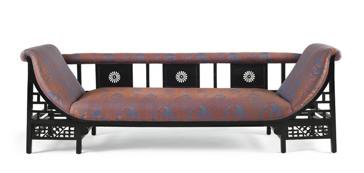 Attributed to Edward William Godwin SETTEE ebonized wood and fabric upholstery 28 x 82 x 25 in. (71.1 x 208.3 x 63.5 cm) circa 1873 produced by Collinson and Lock, London