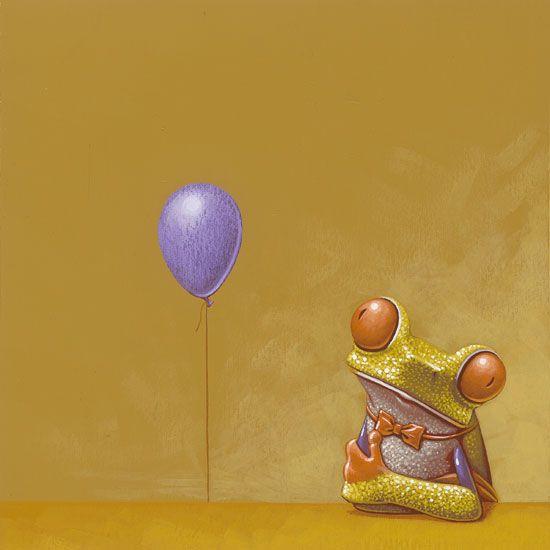 Paarse ballon / Purple balloon - 20 x 22 cm - acrylverf op papier / acrylic on paper - 2012  - verkocht / sold
