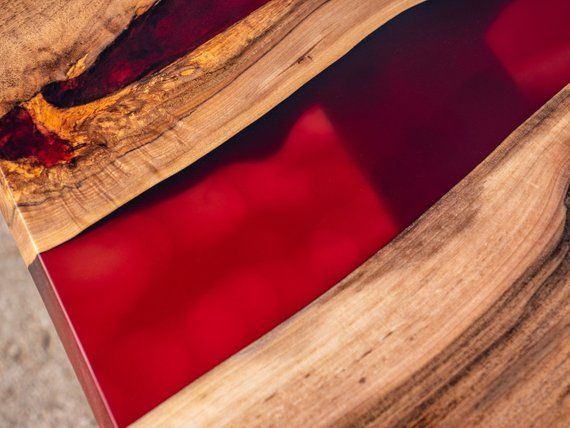 Table Resine Epoxy Rouge