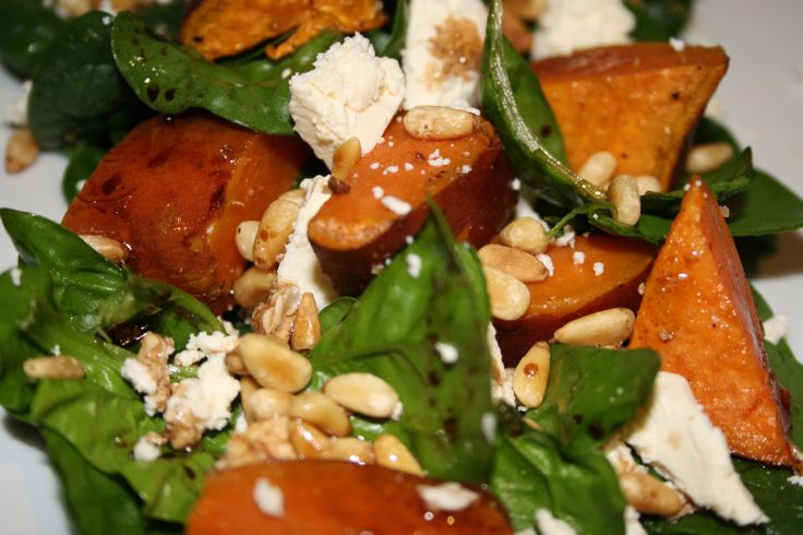 sweet potato, spinach, fetta and pinenut salad