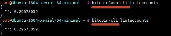 Run bitcoinCash on same server with bitcoin  I followed the great answer here how to install bitcoin legacy and bitcoin cash on the same ubuntu server?  and installed bitcoinCash client to my ubuntu server.  Now I have both binaries available but they both work on same configs and same blockchains as I see.  There supposed be a way how to tell bitcoinCash client to download its own chain and use its own keys but I cant figure out where those setup files for bitcoinCash are located and how to…