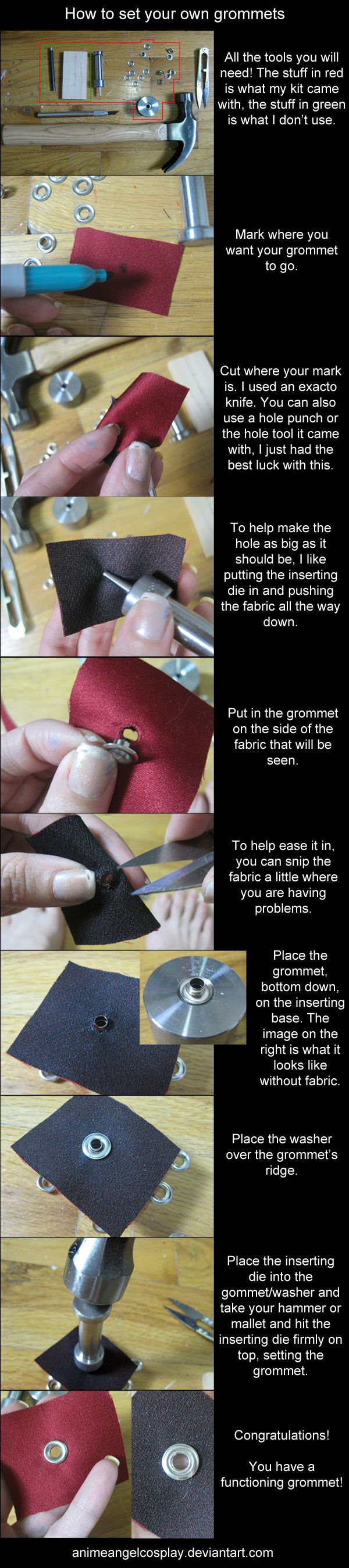 Tutorial-How to set grommets by ~AnimeAngelCosplay on deviantART