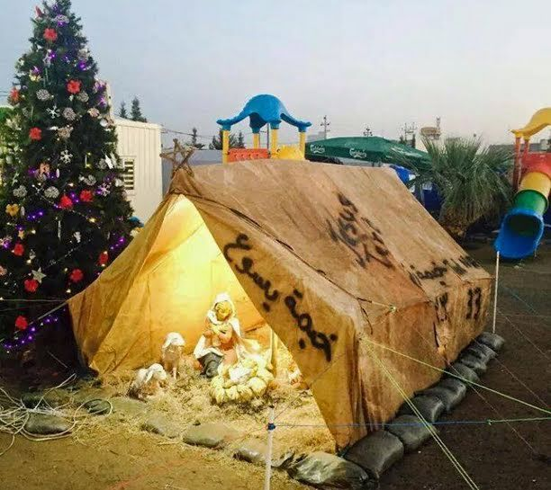 VICAR OF BAGHDAD: The Love of the Refugee Child Jesus is All That's Left for the Christians in Iraq This Christmas - Nativity Scene in Iraq Humanitarian Aid Camp