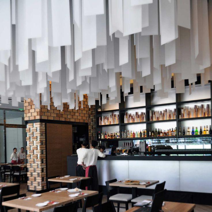 restaurants with striking ceiling designs - Beaded Inset Restaurant Interior