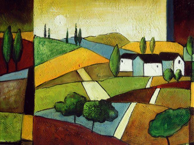 Cuadros abstractos, cuadros modernos con paisajes abstractos, I-Casa de labranza