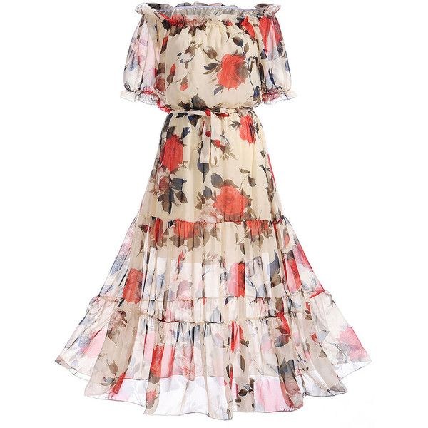 Off Shoulder Floral Hollow Out Ruffled Hem Maxi Dress ($33) ❤ liked on Polyvore featuring dresses, pink maxi dress, off-the-shoulder ruffle dresses, maxi dress, short dresses and short pink dress