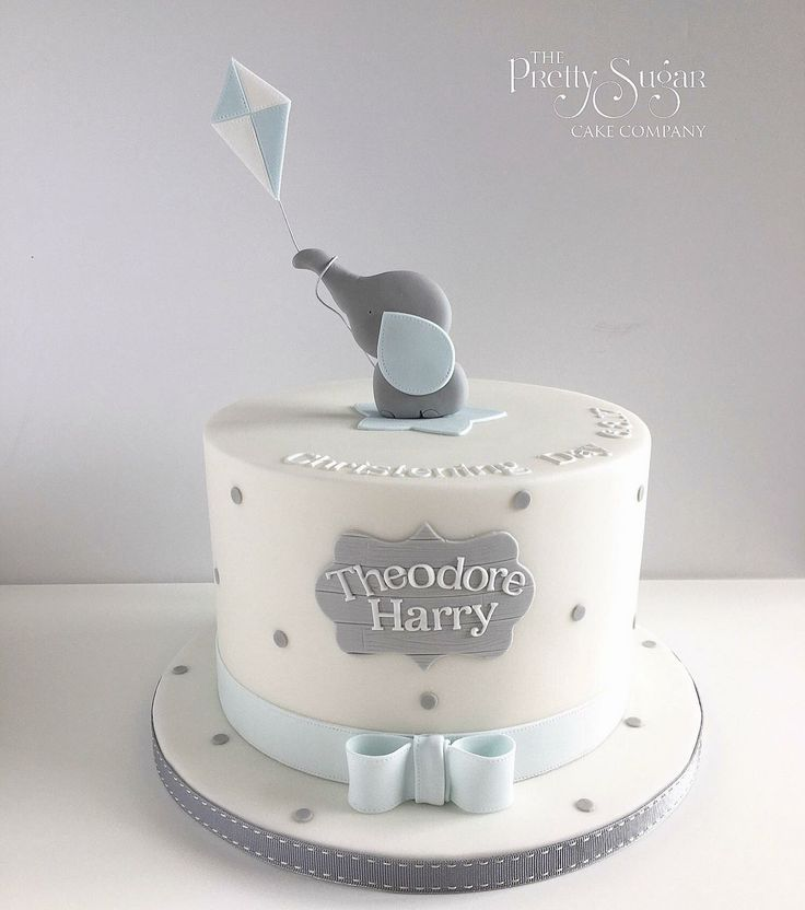 Grey and blue spot elephant with kite christening cake