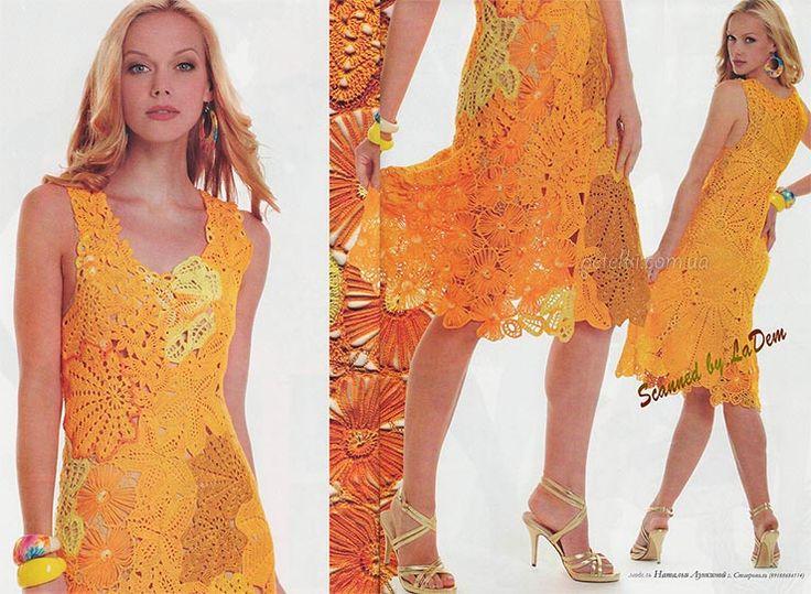 Virka klänning och gafflar, av kastanjeblad. Beskrivning ordningar