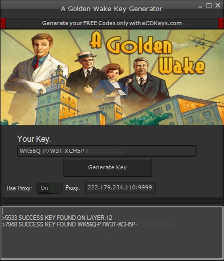 """A Golden Wake CD-Key Generator and open it. Be sure that the Proxy feature is ON. Press """"Generate Key"""" button."""