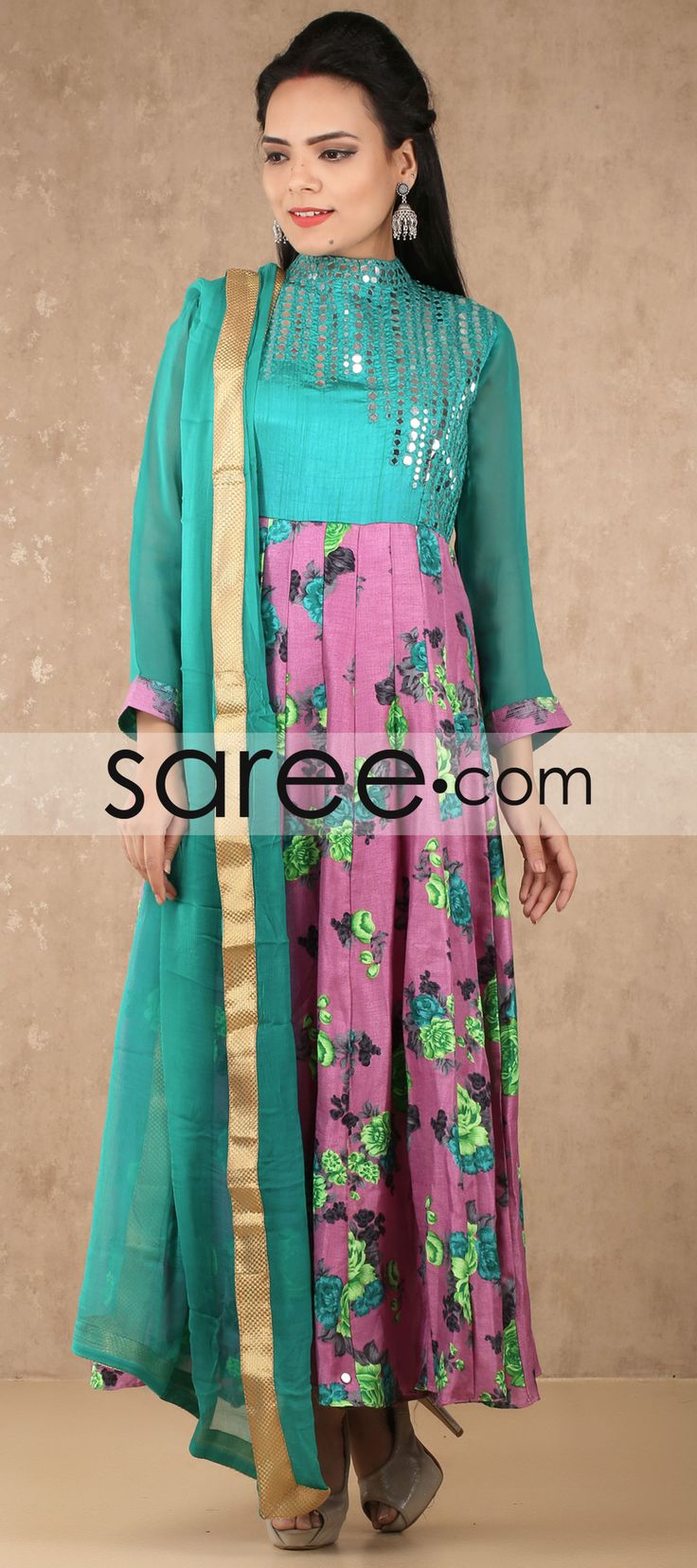Sea Green and Pink Raw Silk Anarkali Suit with Mirror Work