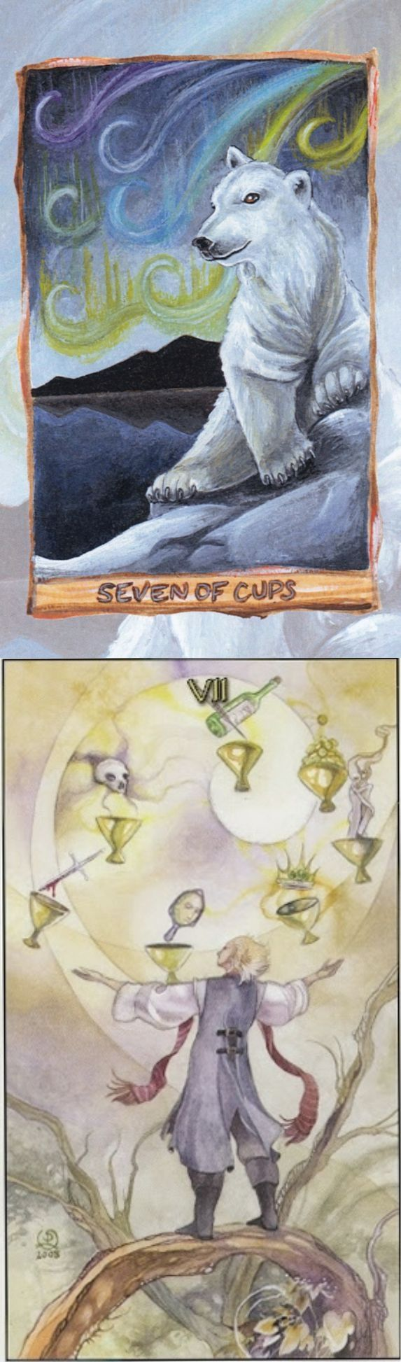 Seven of Cups: others offer disaster and temptation can draw you to ruin (reverse). Animisim Tarot deck and Mage Awakening Tarot deck: tarottable cloth, tarot cards on line and 6 card tarot. Best 2017 cartomancy meanings and gothic art. #ios #tarotdecks #tarotspreads #divination #emperor #witchy