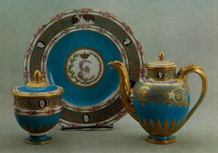 The State Hermitage Museum: This dinner, dessert, tea and coffee service for 60 people, originally consisted of more than 700 pieces.  It was commissioned by Catherine II, and on her instruction was decorated with representations of cameos on themes from Greek and Roman history and mythology.