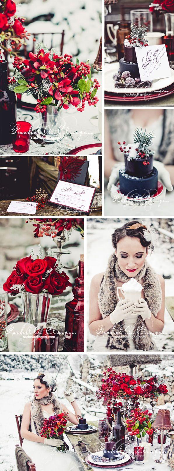 Winter Wedding Ideas by Rachel Clingen - via Strictly Weddings.