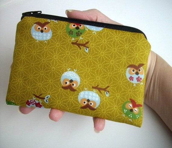 LIMITED ITEM Gold Owls Japanese Import Zipper Pouch Padded Coin Purse by JPATPURSES, $9.00