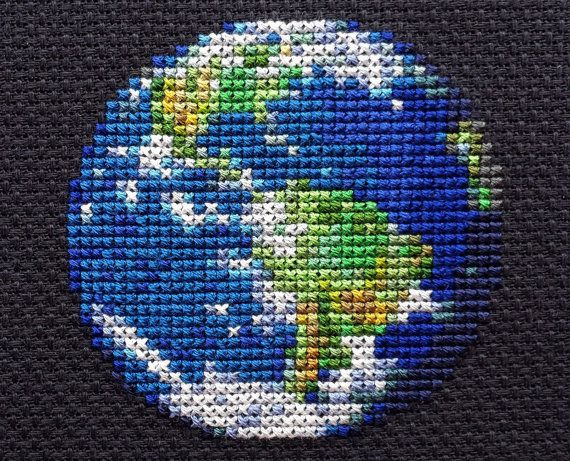 Earth Planet Cross Stitch Pattern PDF Instant by StemStitch