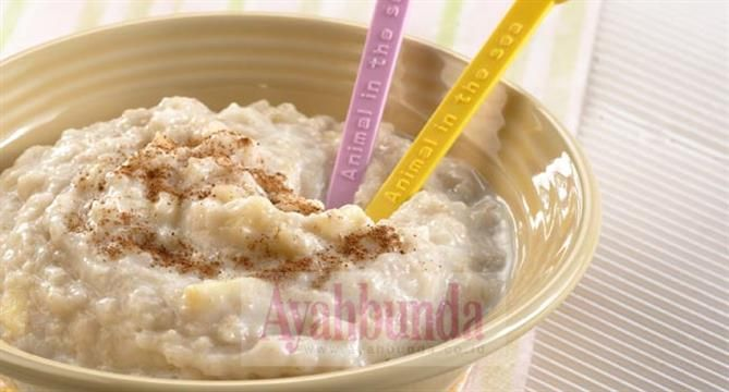 Apple Cereal, use breastmilk. For baby 9 months up. Recipe in Bahasa Indonesia.