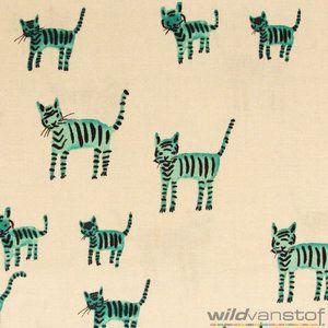 Turkooise katten / Wild van Stof