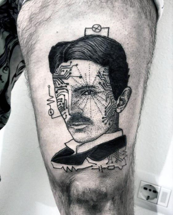 60 Nikola Tesla Tattoo Designs For Men Electrical