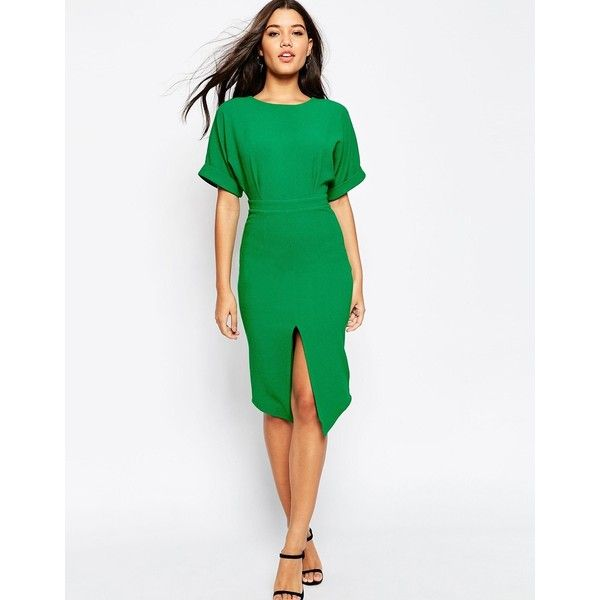 ASOS Wiggle Dress with Split Front (£47) ❤ liked on Polyvore featuring dresses, peppergreen, green dress, green wiggle dress, slimming dresses, midi cocktail dress and white midi dress