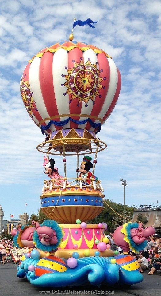 The Mickey and Minnie float in the new Festival of Fantasy Parade in the Magic Kingdom at Disney World. #Disneyworld #FestivalofFantasy