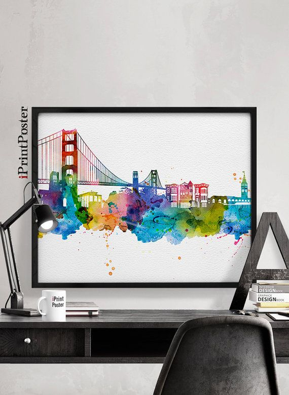 San Francisco print San Francisco skyline San by iPrintPoster