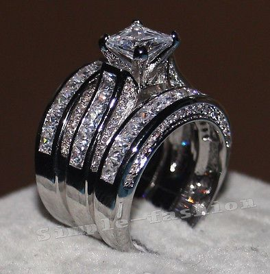 details about women princess cut 10ct diamonique cz white gold filled 3 wedding band ring set - Ebay Wedding Ring Sets