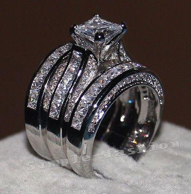 details about women princess cut 10ct diamonique cz white gold filled 3 wedding band ring set - Ebay Wedding Rings