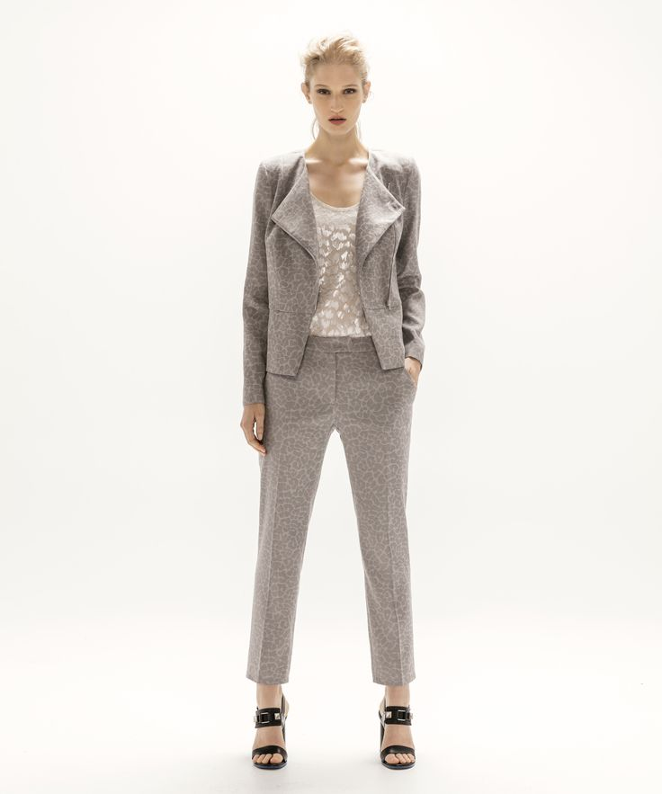 Asymmetric Jacket - Grey, Metallic Tank - Silver and Cropped Trouser - Grey