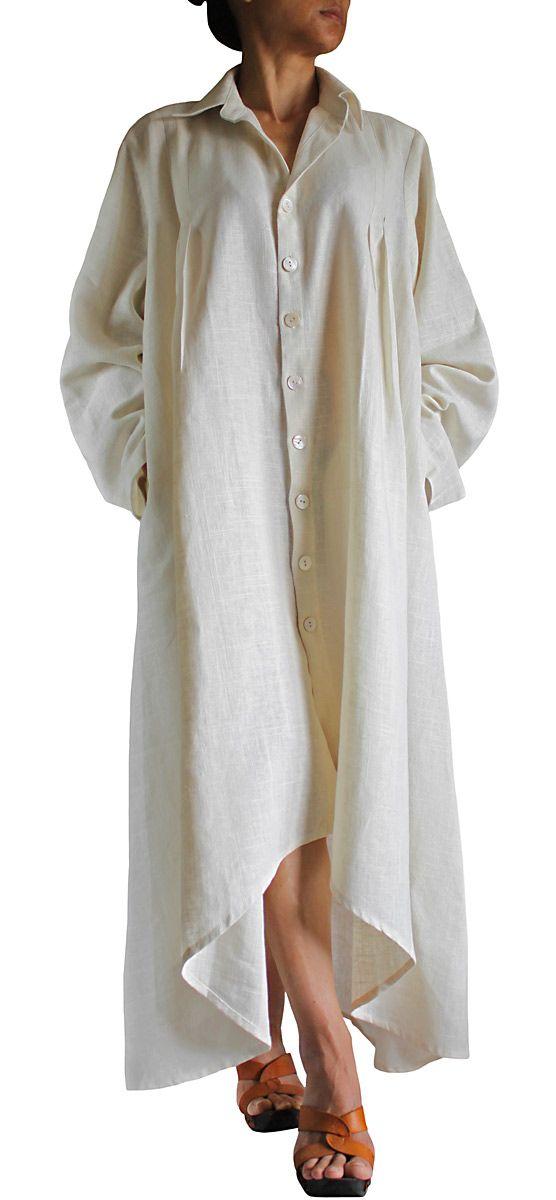 Long dress coat of soft hemp JNN-067-02