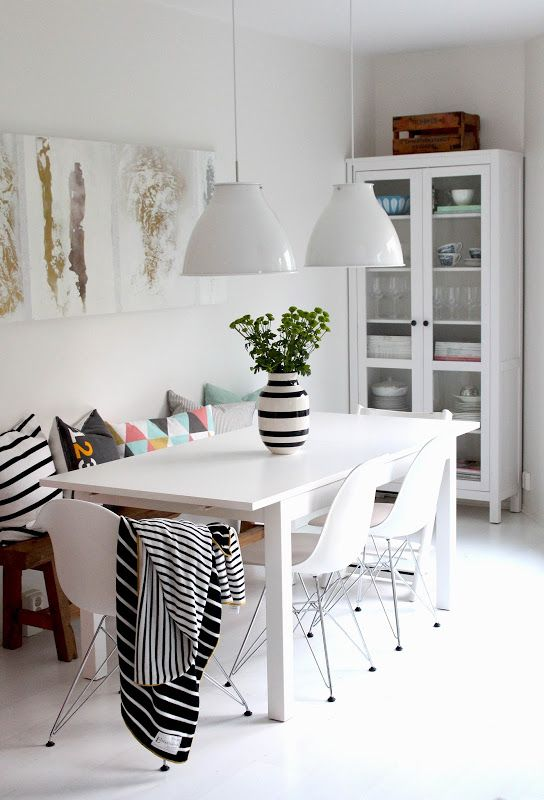 White Dining Room With Ikea Norden Table Hemnes Display Cabinet