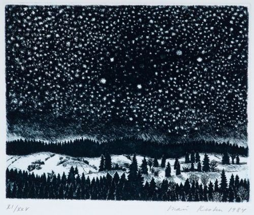 """Inari Krohn, """"WINTER NIGHT"""", etching, 1984."""