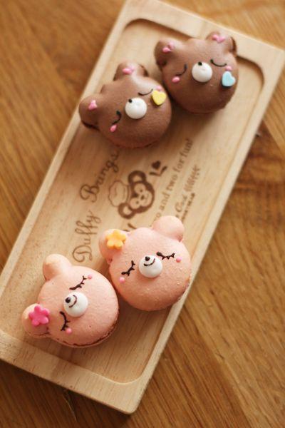 Bear Macarons made by coupe-feti #food #kawaii #sweet #macaron #bento