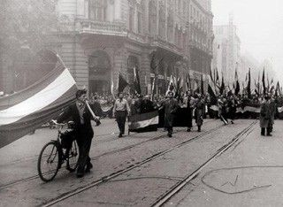 people on the streets during the Hungarian Revolution of 1956, October