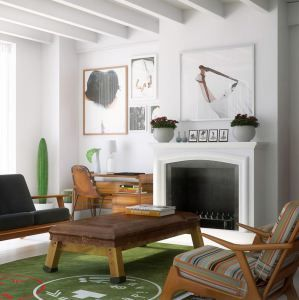 Warm living room with white fireplace and wooden furniture
