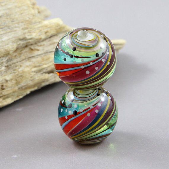 handmade lampwork glass bead pair twisted dichroic beads magma beads regis u0026 trudy
