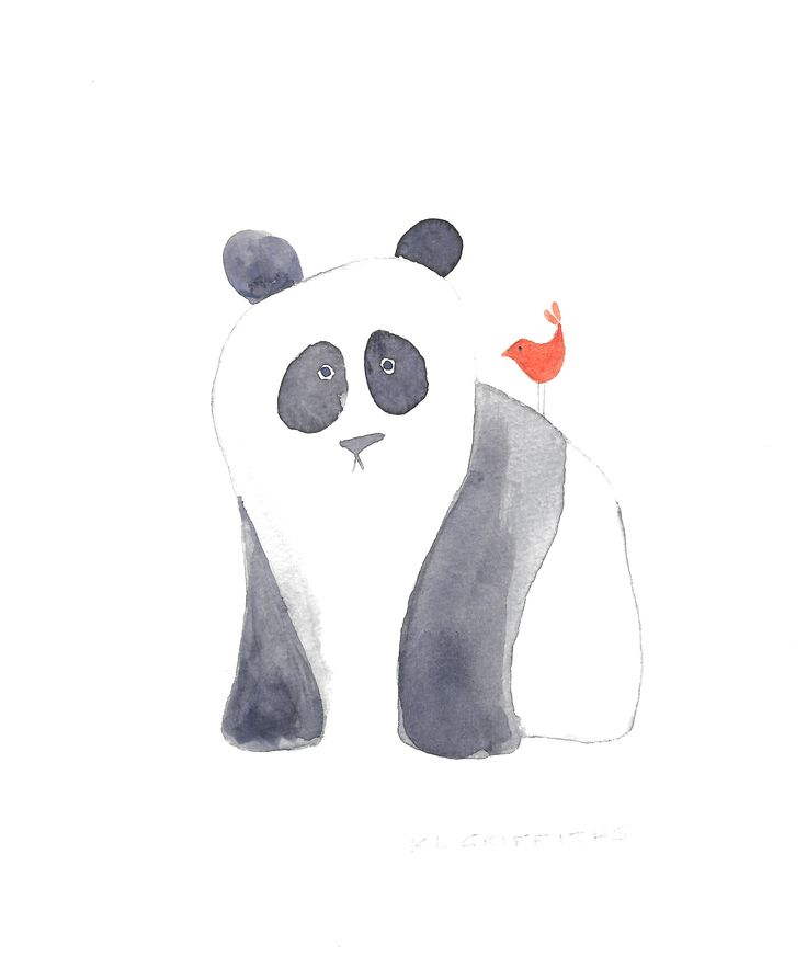Panda and friend. Watercolour by KL Griffiths