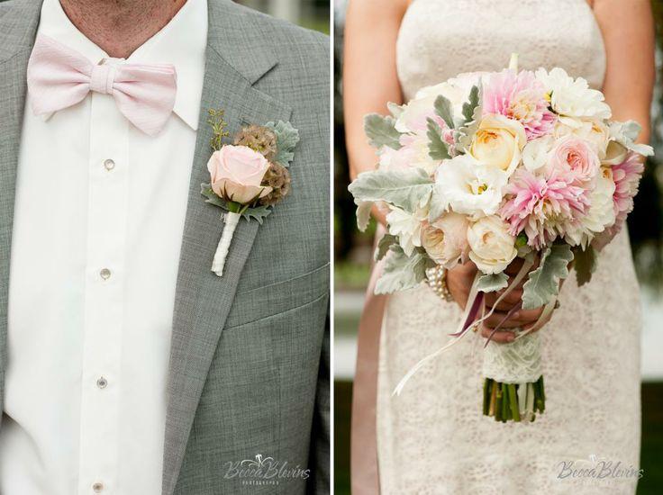 Simple Cream Wedding Dresses Image 0 Colored: Flowers, Blush, Bow Tie, Groom, Bride