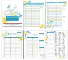 free homeschool planner including a year-long calendar, goal sheet, schedule pages, curriculum list, devotional schedule page, attendance sheet, list of enrichment activities and page for a list of books read.