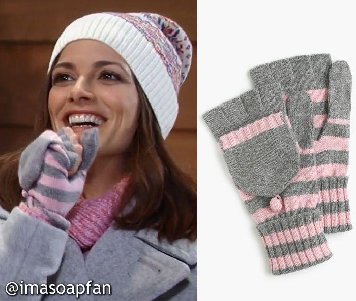 Hayden Barnes's Grey and Pink Striped Gloves - General Hospital, , Rebecca Budig, #GH #GeneralHospital Wardrobe Fashion #imasoapfan
