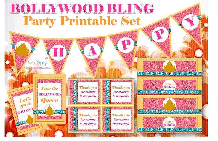 Bollywood Bling Printable Party Pack - Kids party invitation, party bag tags, cake toppers, bottle labels, bunting & signage - https://www.etsy.com/listing/228240137/bollywood-bling-printable-party-pack?ref=shop_home_active_1 #easybreezyparties