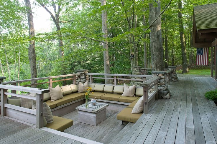 Traditional Deck with Wood deck, Blazing Needles Outdoor Solid Throw Pillow, Stone columns, Built-in bench seating, Pathway