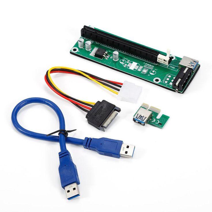 Green 30cm PCI-E extender PCI Express Riser Card 1x to 16x USB 3.0 SATA to 4Pin IDE Molex Power for BTC Miner Machine