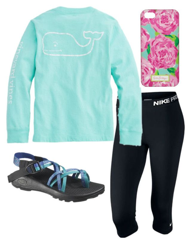 """""""Helping le gma today"""" by ava-navarrrroo ❤ liked on Polyvore featuring NIKE, Lilly Pulitzer and Chaco"""