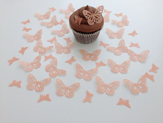 48 Edible Peach Butterfly Wafer Cupcake by punchycakesbyjudy