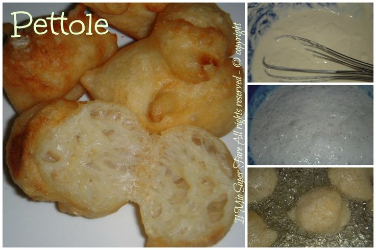 Pettole di Santa Cecilia:sfiziose palline di pasta lievitata fritte in olio caldo.Il loro segreto è un impasto molto idratato. Buone con zucchero o vincotto