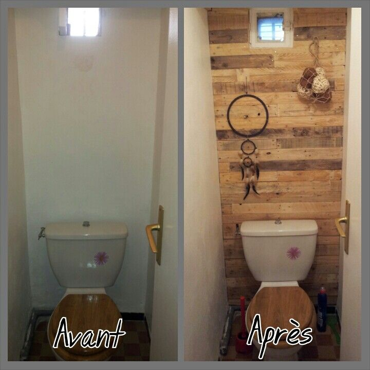 Am nagement de nos wc bois de palette wc pinterest for Idee deco murale toilettes