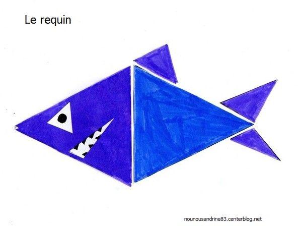 """Résultat de recherche d'images pour """"poisson réalisé avec des formes géométriques"""""""