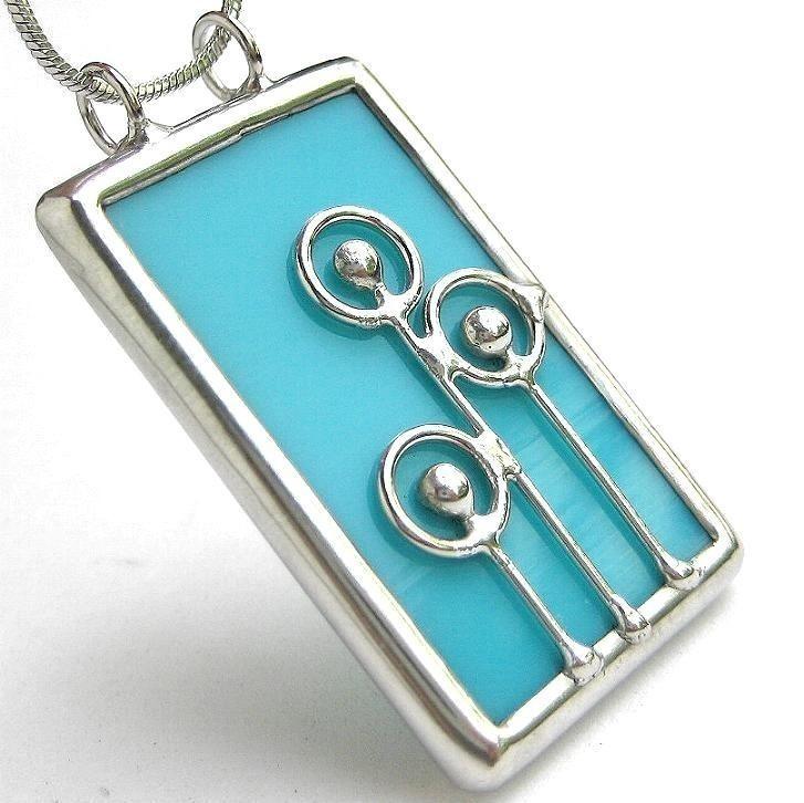 Pom Poms - oblong stained glass pendant